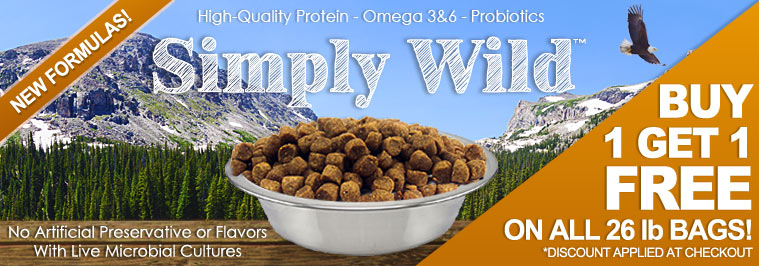 Buy 1 Get 1 Free – 26 lb bags of Simply Wild Dog and Cat Food + 12% off any order with code