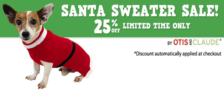 Otis and Claude Santa Sweater Sale